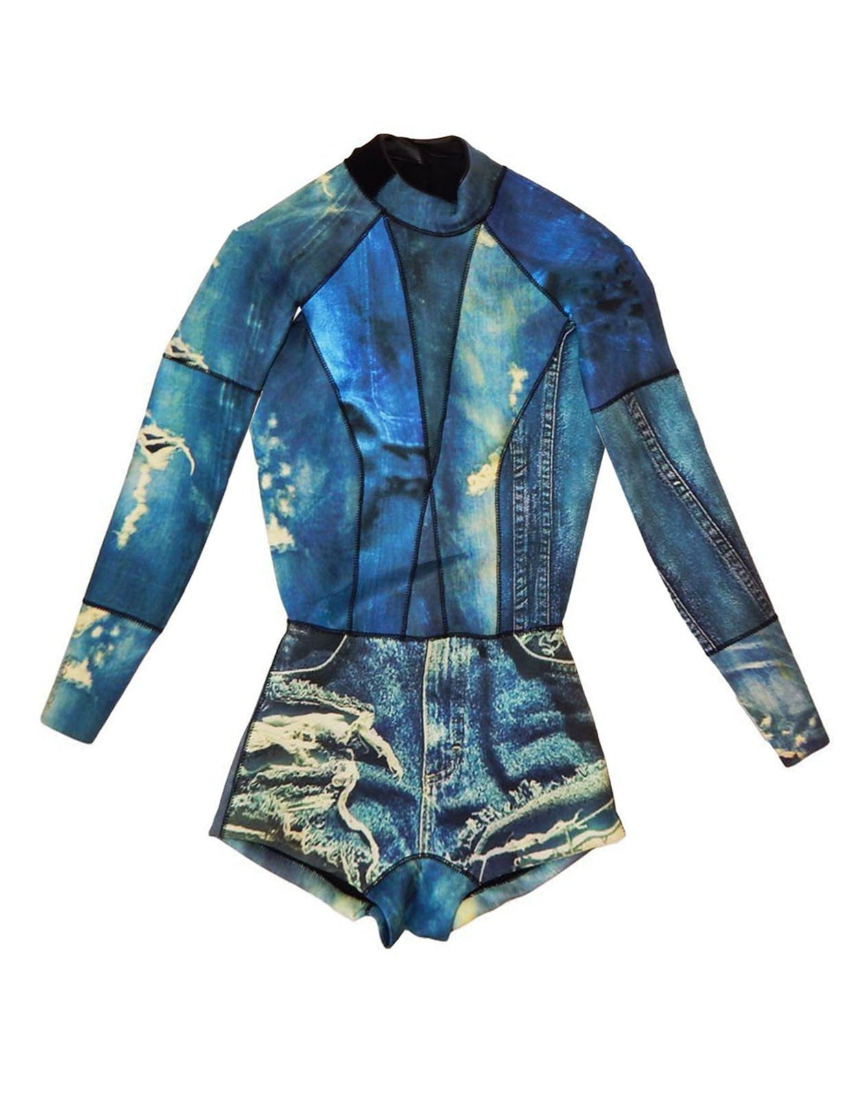 Front flat image of the 2mm Fiber-Lite neoprene denim print wetsuit