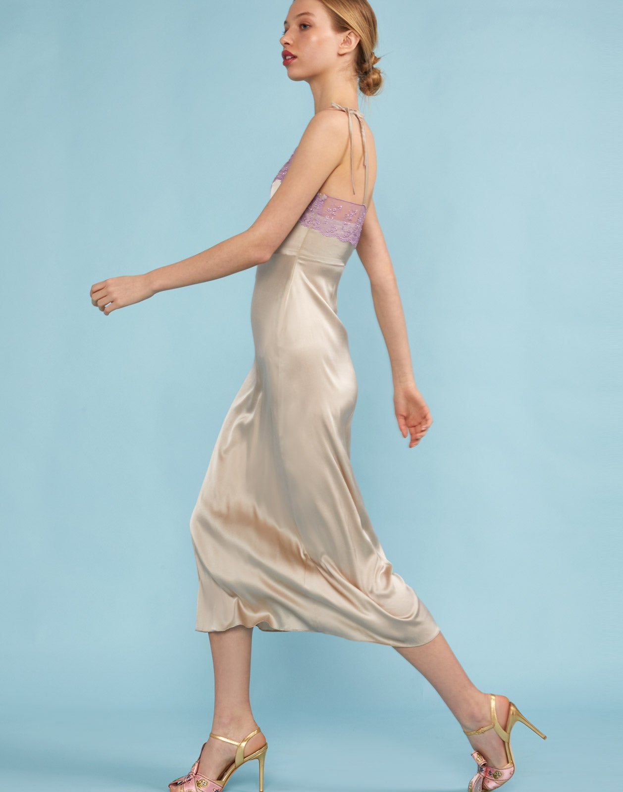 Side view of the Kat Lace Trim Slip Dress
