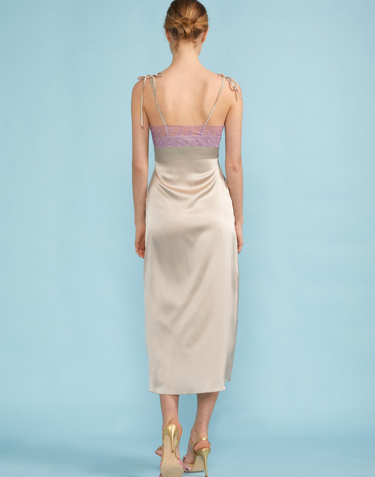 Back view of the Kat Lace Trim Slip Dress