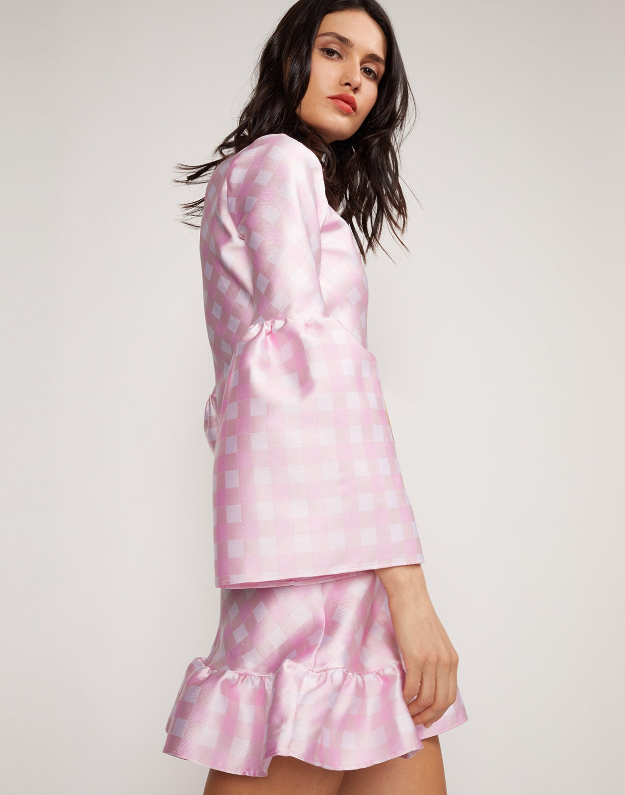 Side view of the Jane Gingham Dress