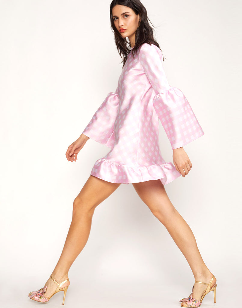Side view of the Jane Gingham Mini Dress