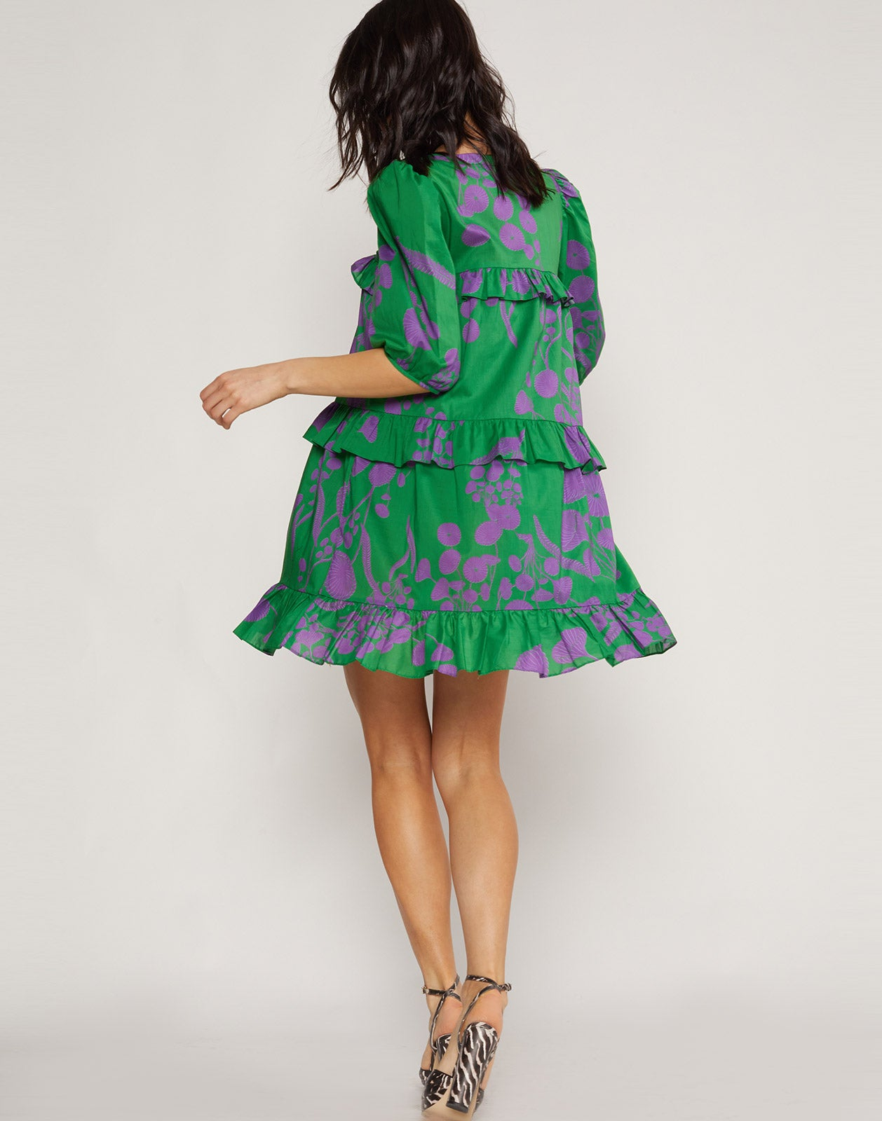 Back view of the Kuaii Ruffle Swing Dress