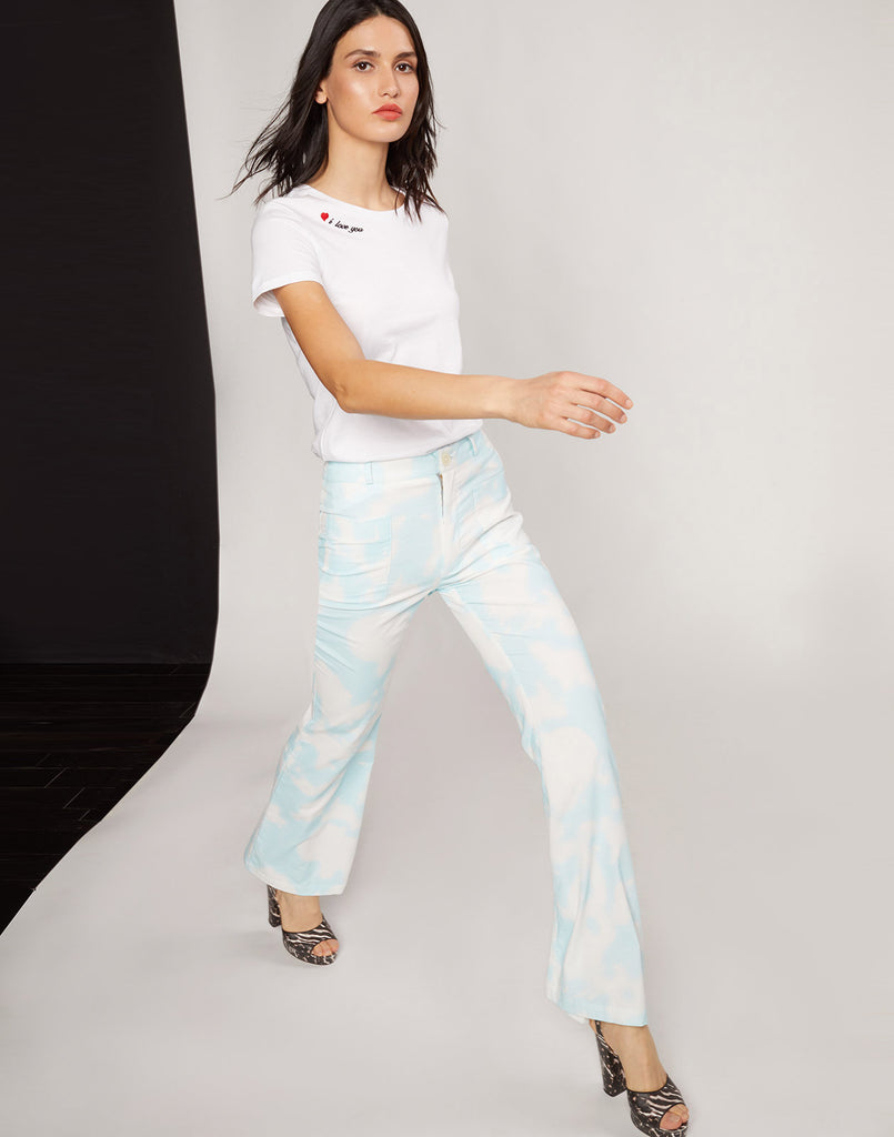 James Sky Blue Tie Dye Flare Pant
