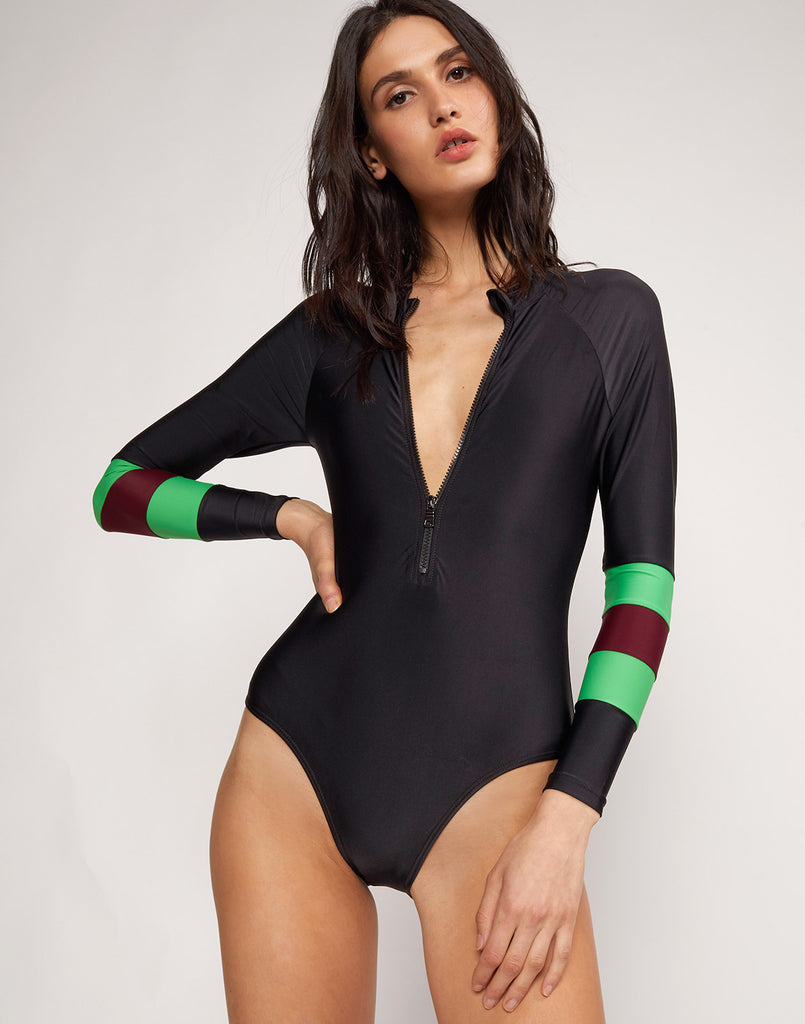 Alternate close up view model wearing Emerald Stripe Hepburn Surfsuit