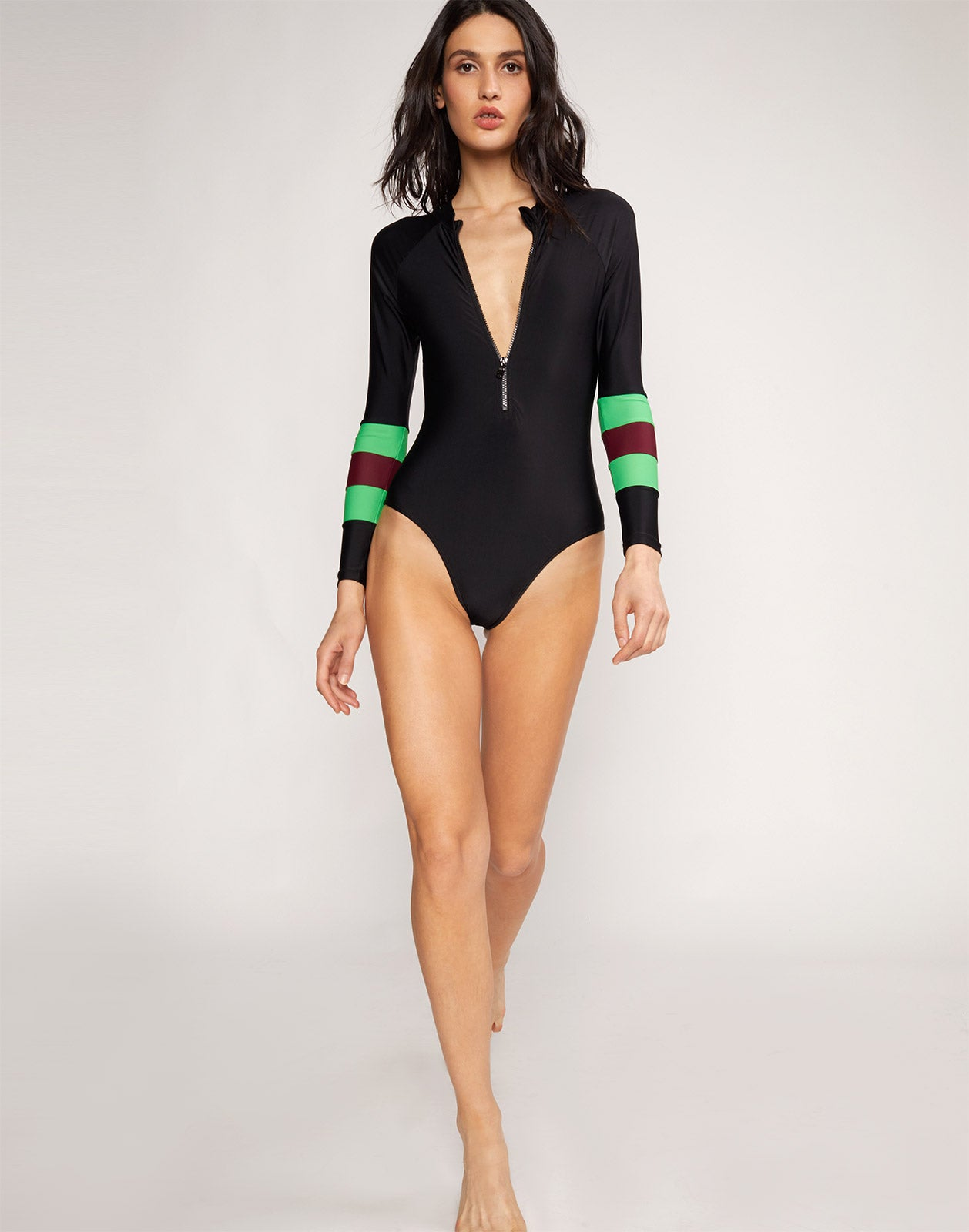 Alternate full body view model wearing Emerald Stripe Hepburn Surfsuit