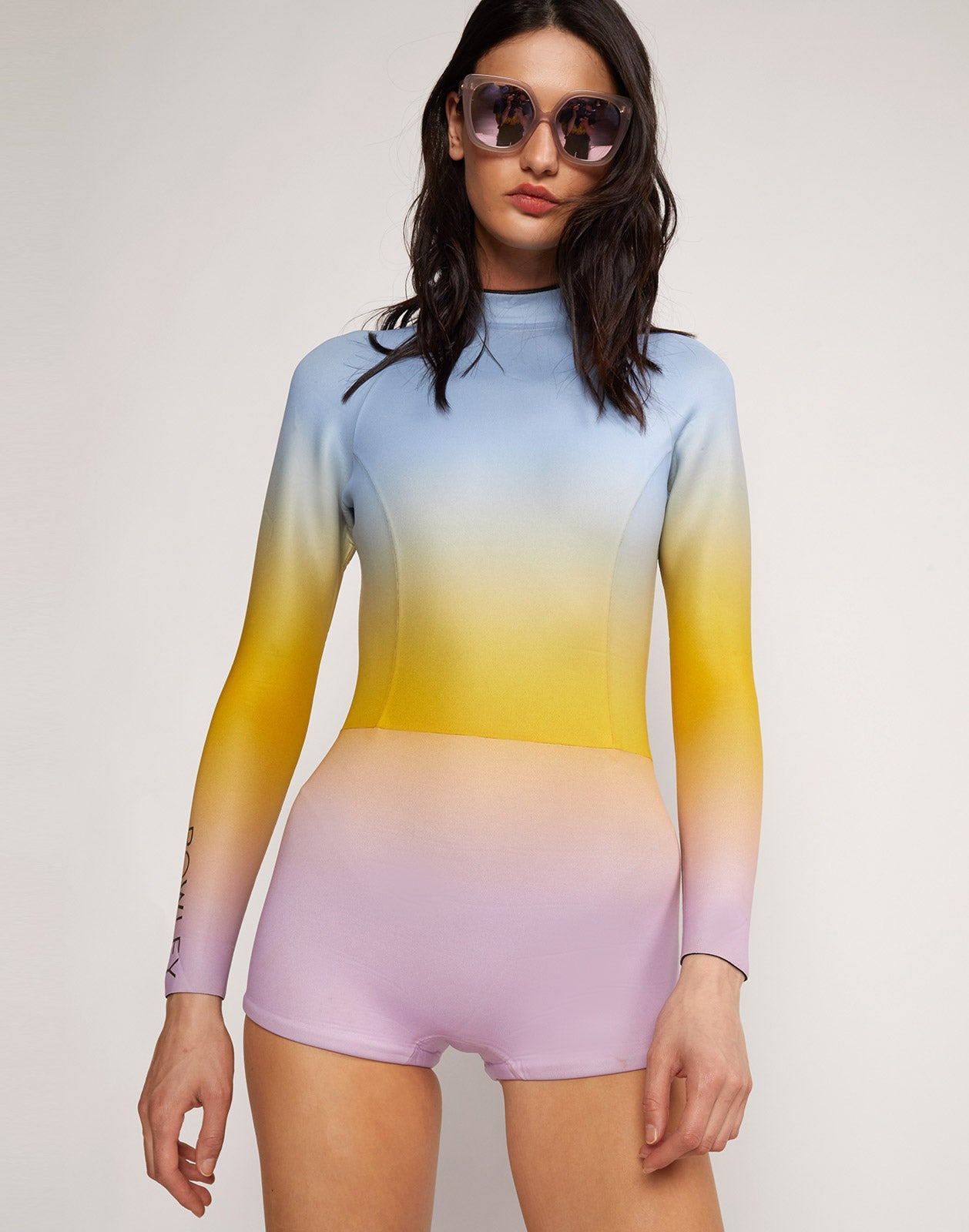 Alternate close up view model wearing Sea Ombre Wetsuit
