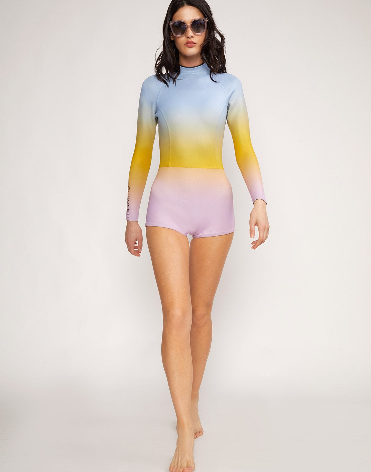 Alternate full view model wearing Sea Ombre Wetsuit