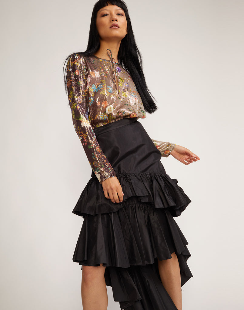 Camila tiered skirt in black shown on model.