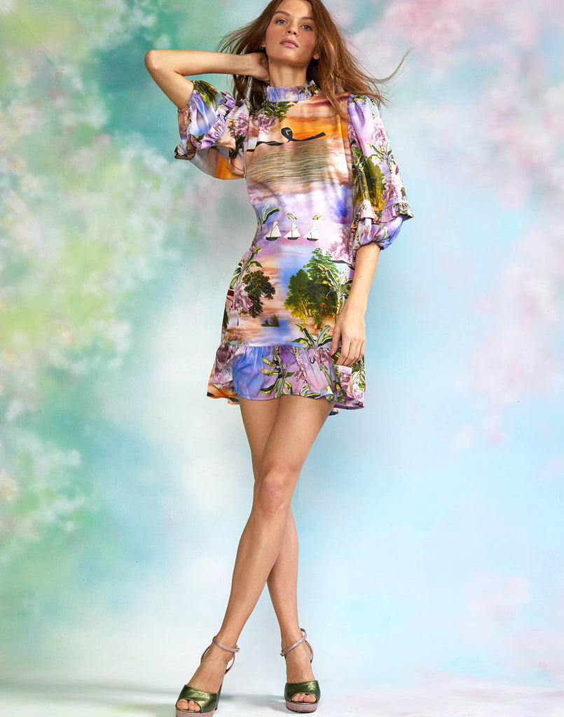 Seascape printed puff sleeve mini dress