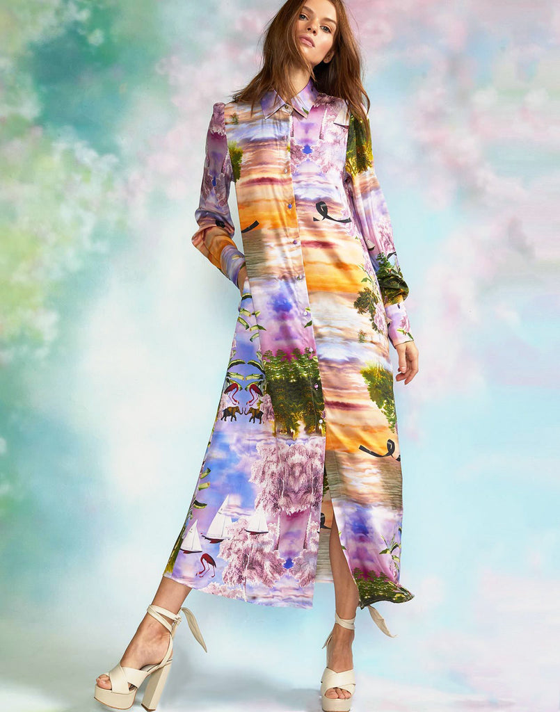 Seascape printed silk shirt dress.
