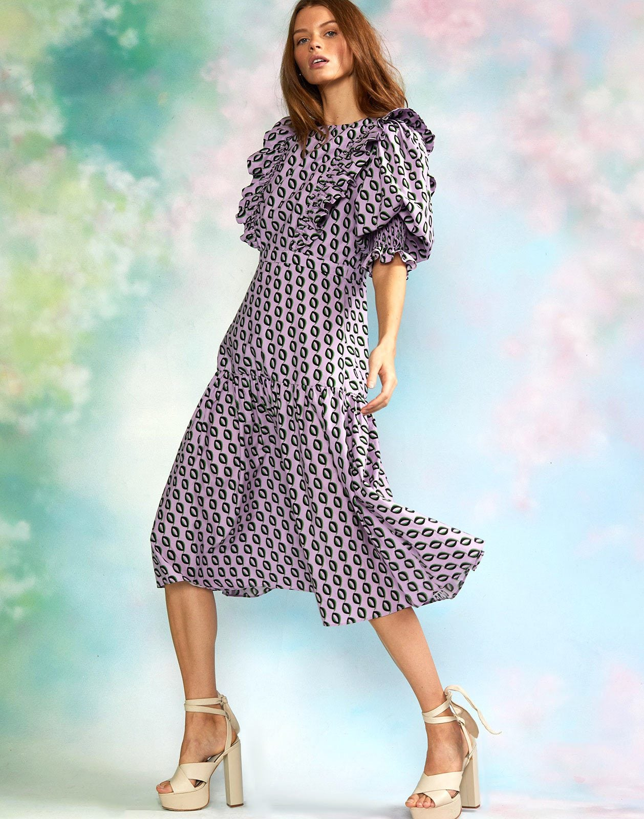 Campbell Cotton Printed Puff Sleeve Dress