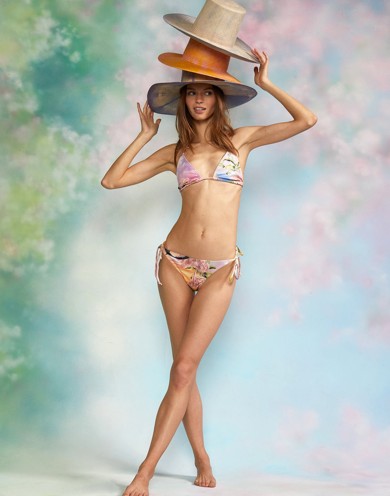 Alternate full view of model wearing the Pink Seascape Bikini Top with the Pink Seascape Bikini Bottom.