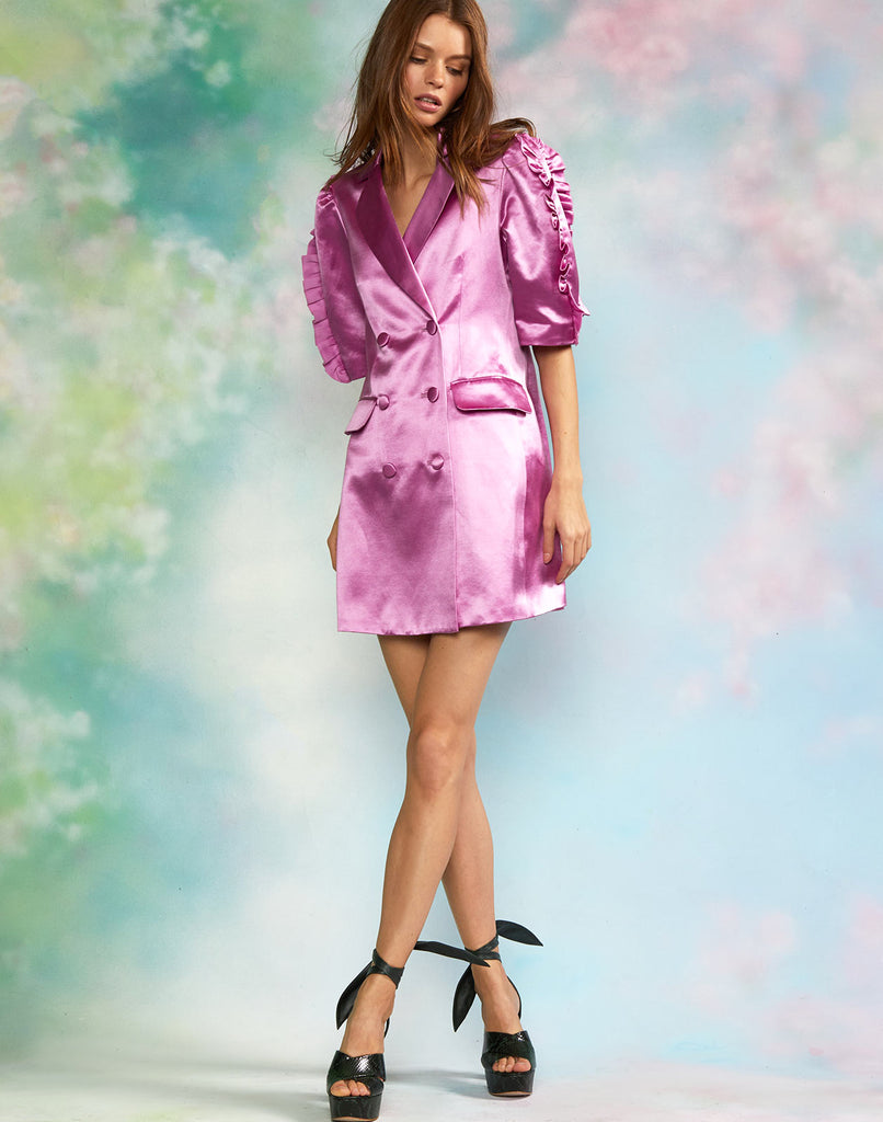 Satin puff sleeve blazer dress