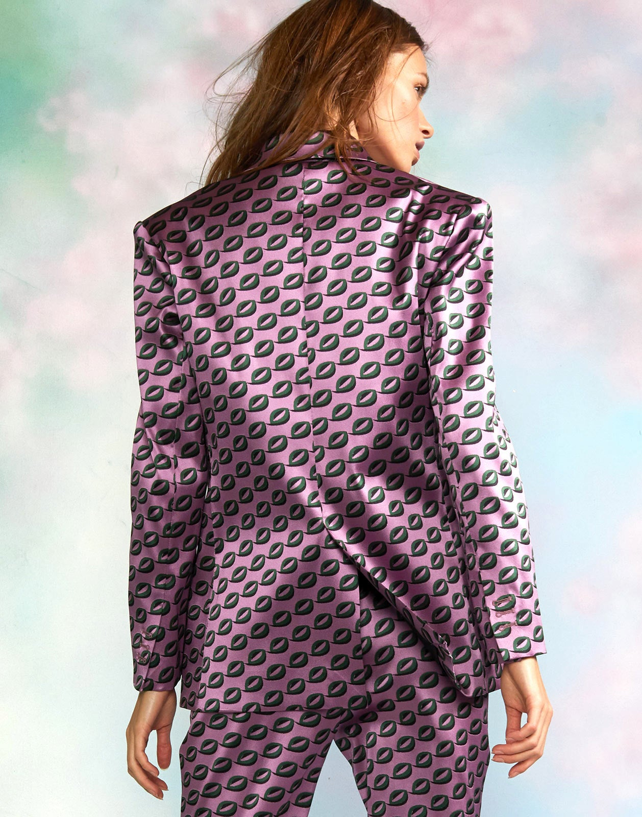Back view of geometric jacquard jacket