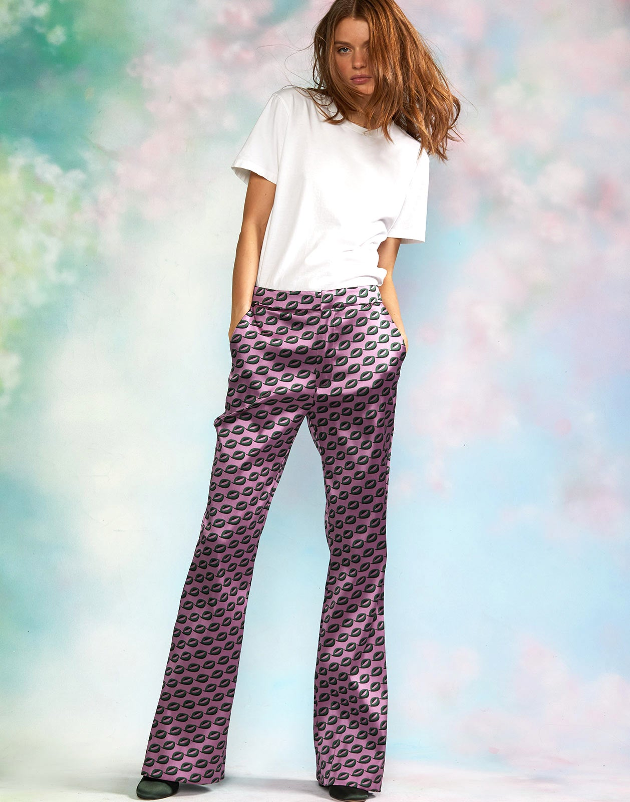 High waisted geometric jacquard flare pants