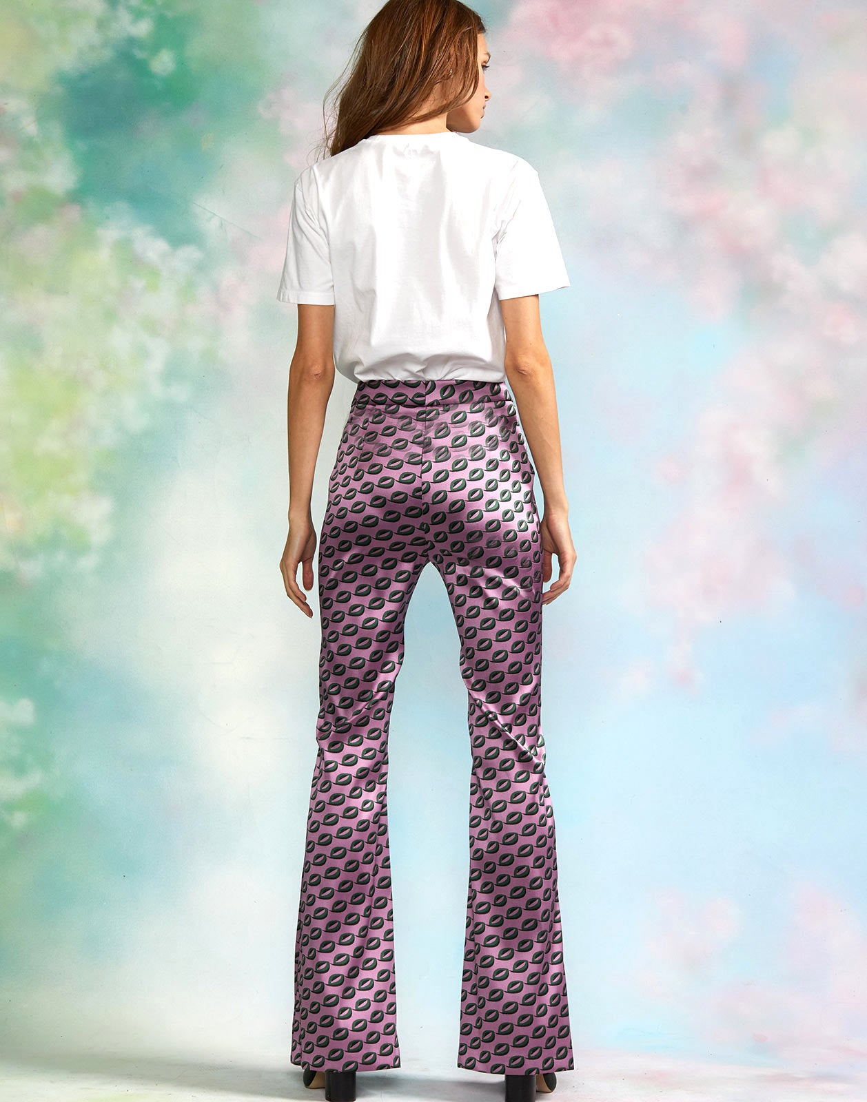 Back view of geometric jacquard flare pants