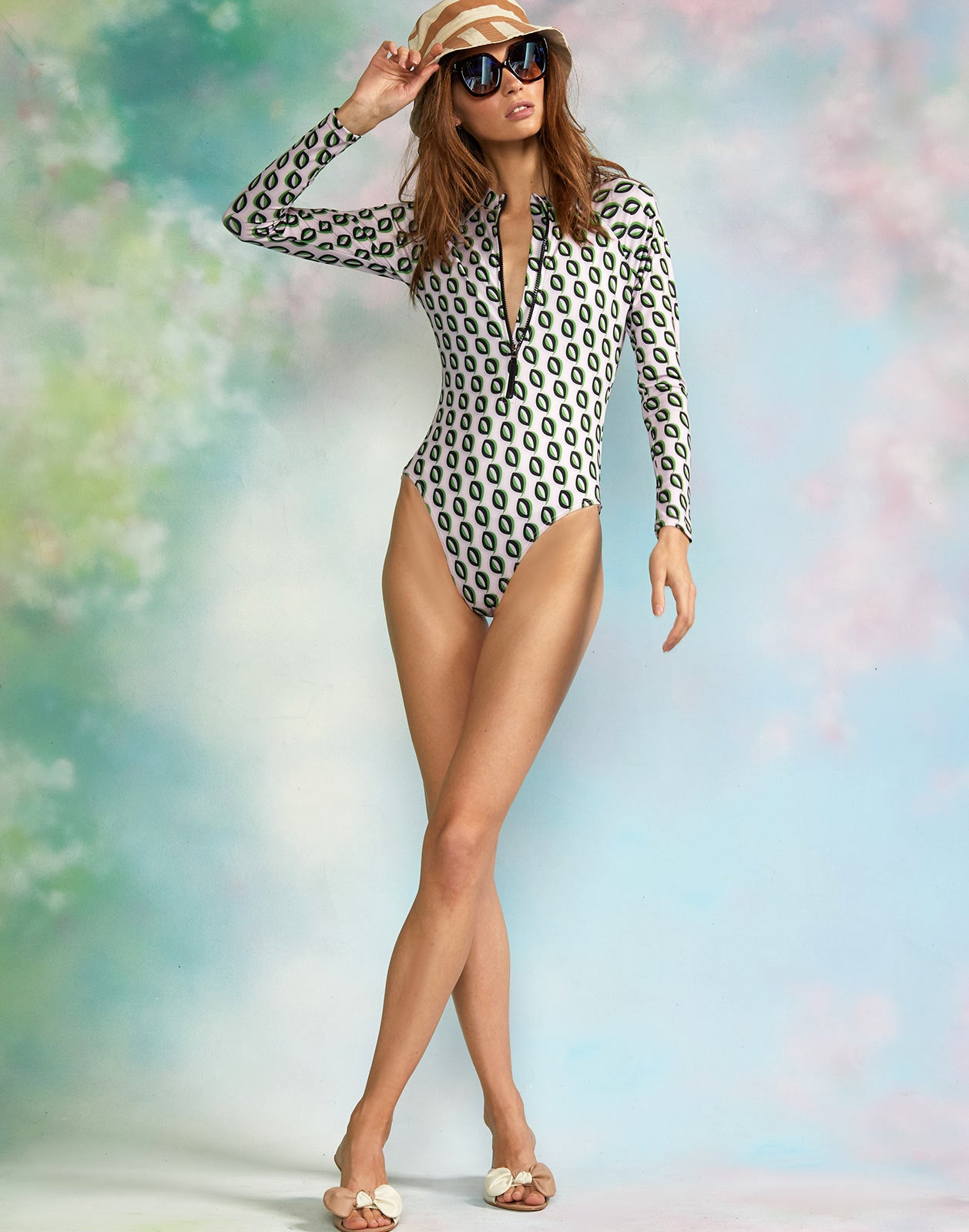Full view of model wearing the Riva Surfsuit.
