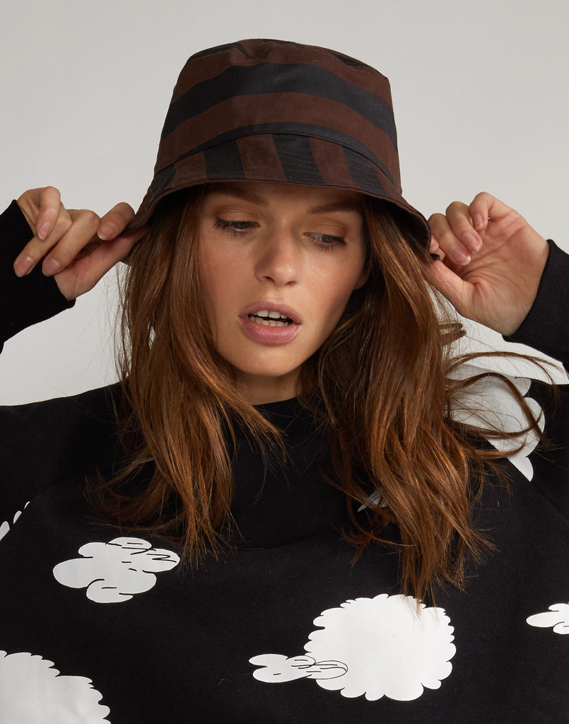 Striped Bucket Hat in chocolate black print.