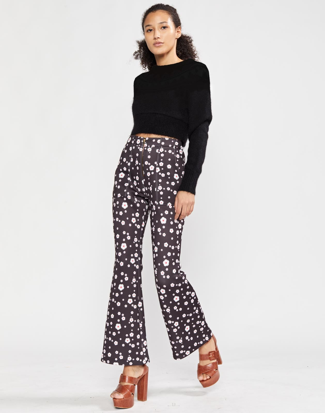 Snow Daisies Printed Bonded Flare Pant
