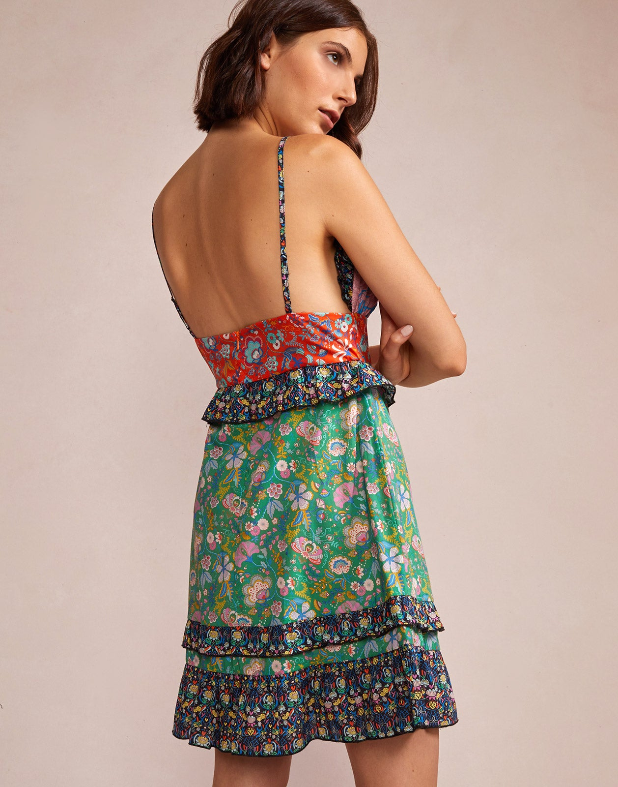 Alternate back view model wearing Charlotte Patchwork Mini Dress
