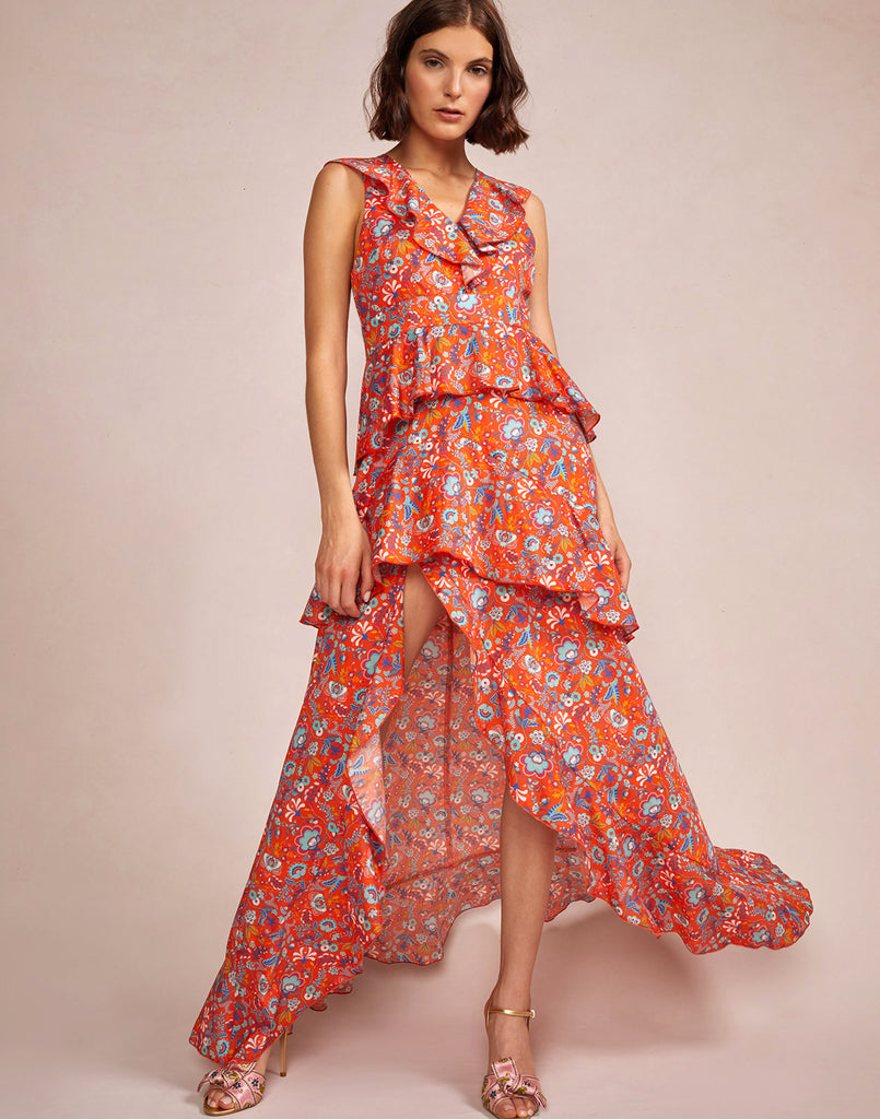 Model wearing Savannah Tiered Maxi Dress