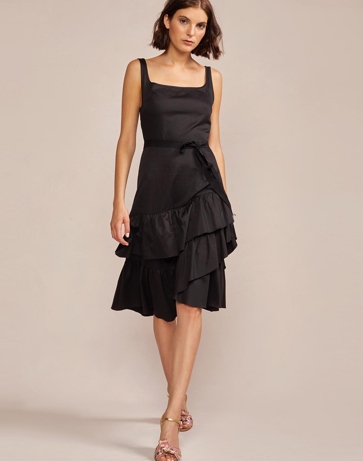 Eva Polished Cotton Ruffle Dress