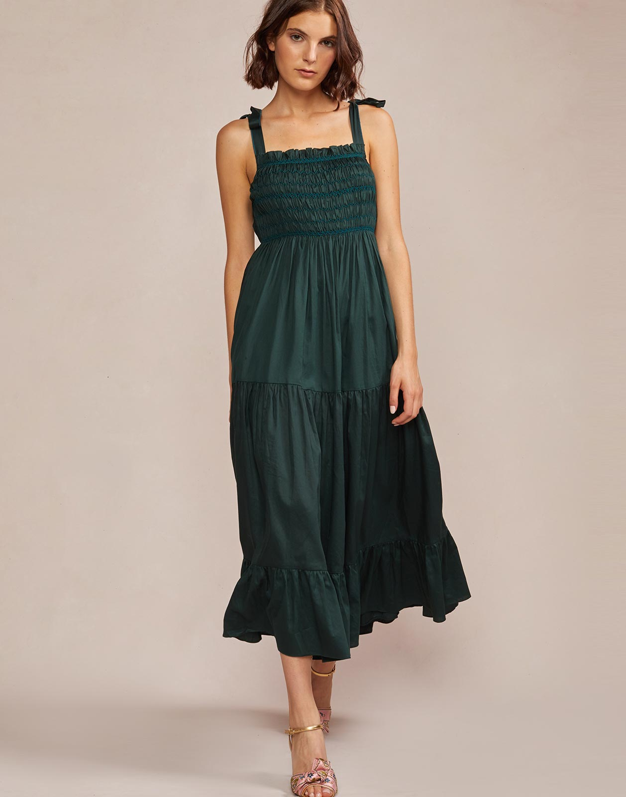 Full view of Hailey polished cotton maxi dress