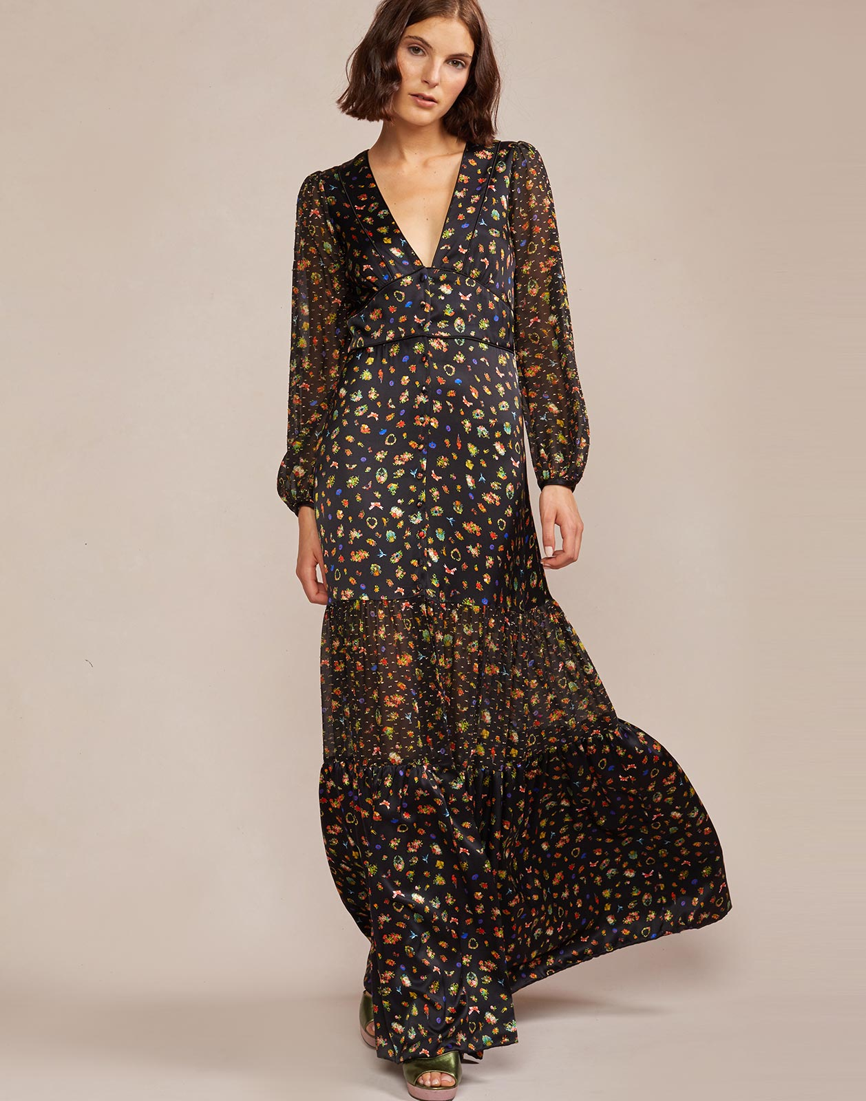 Alternate view of silk maxi dress with long sheer sleeves