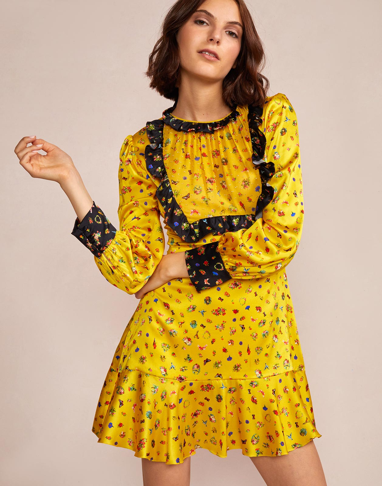 Silk charmeuse printed dress with pinafore ruffle