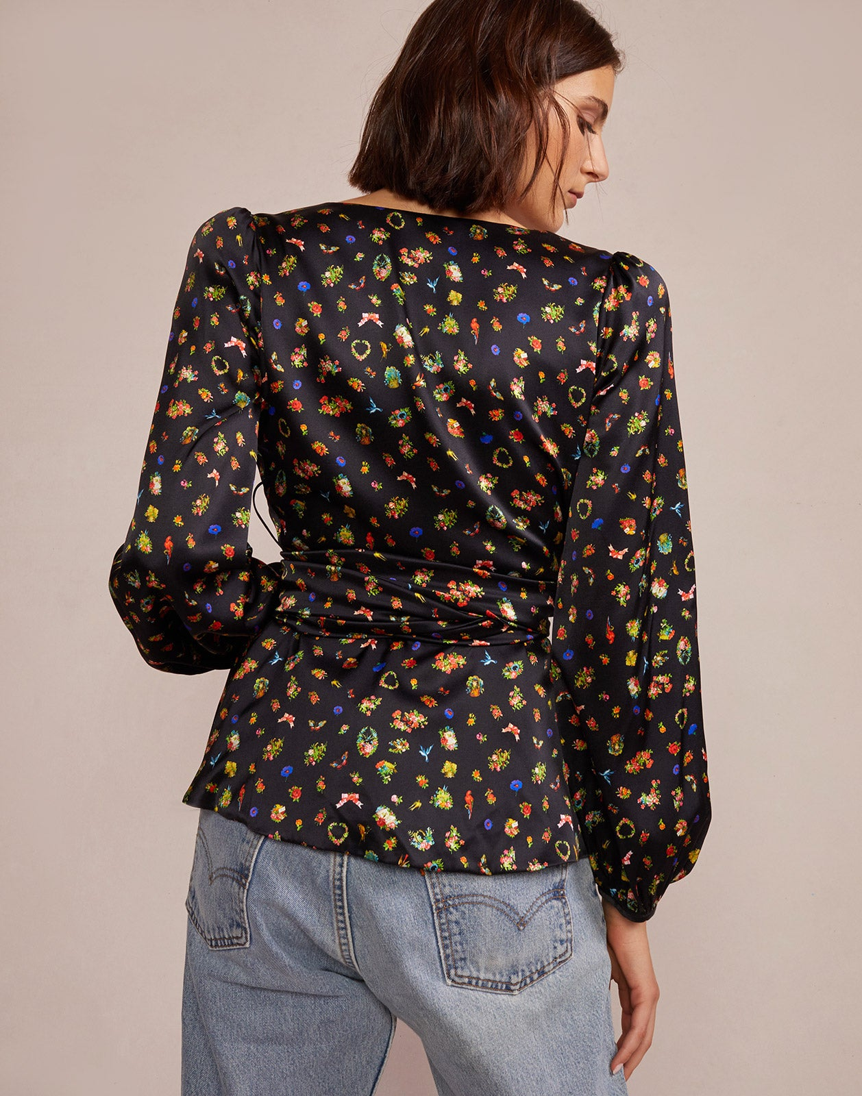 Back view of silk charmeuse wrap top