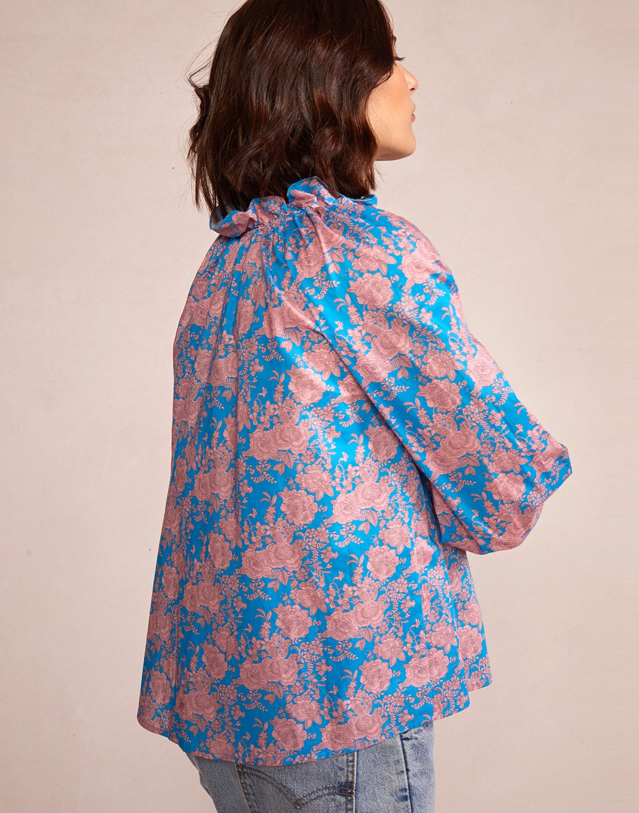 Alternate side view model wearing Floral Cotton Waterfall Top