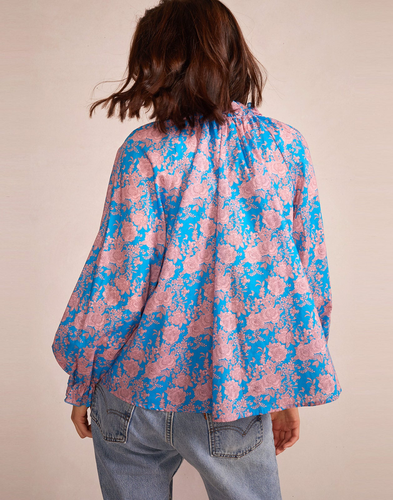 Alternate back view model wearing Floral Cotton Waterfall Top