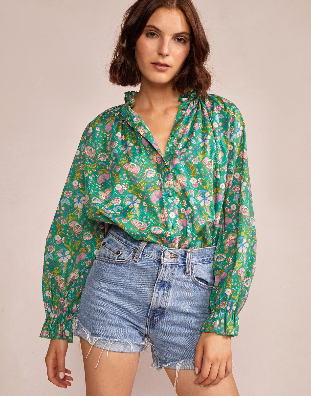 Alternate close up view model wearing Floral Cotton Waterfall Top