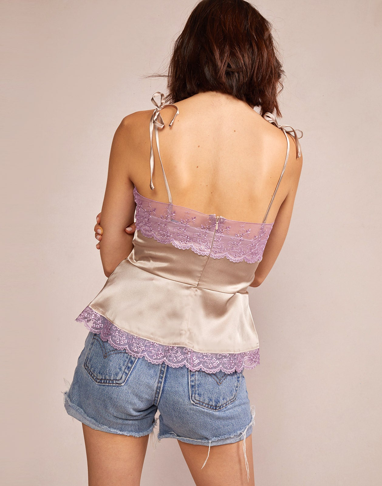 Alternate back view model wearing Mae Lace Trim Cami