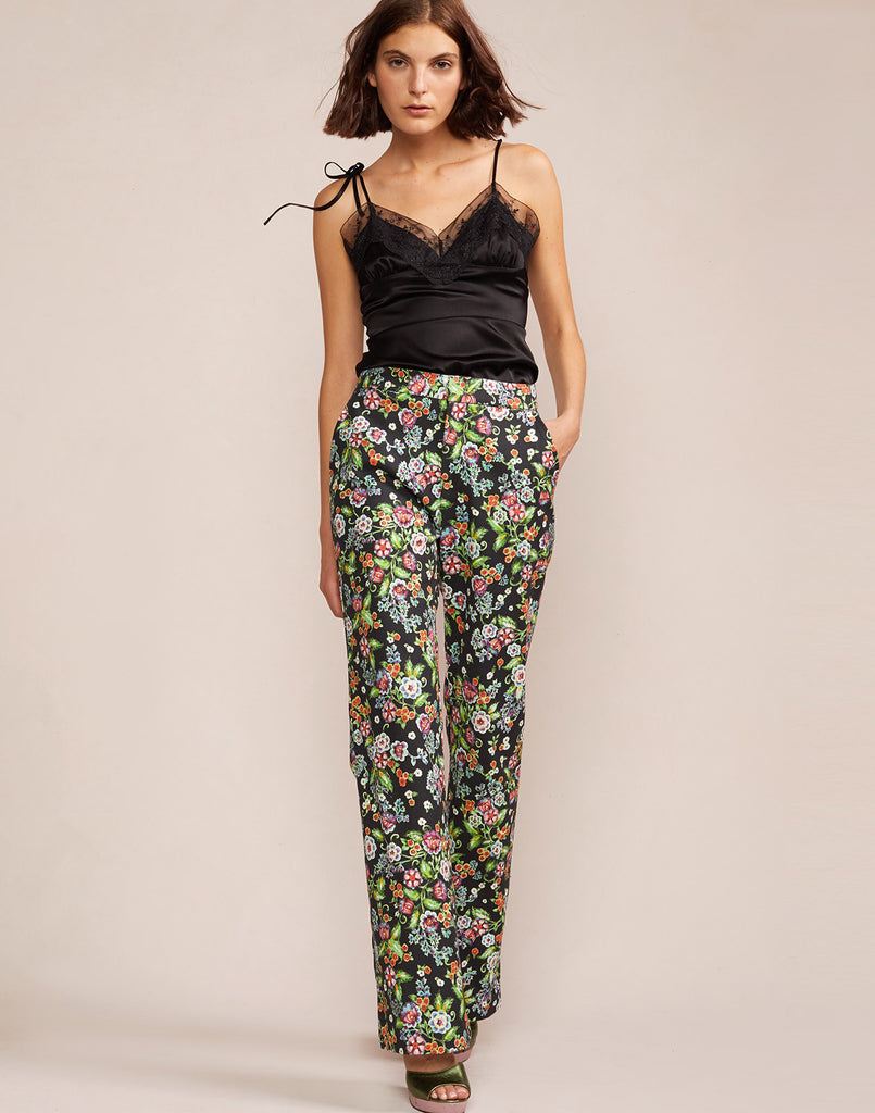 Full view of printed cotton flare pant