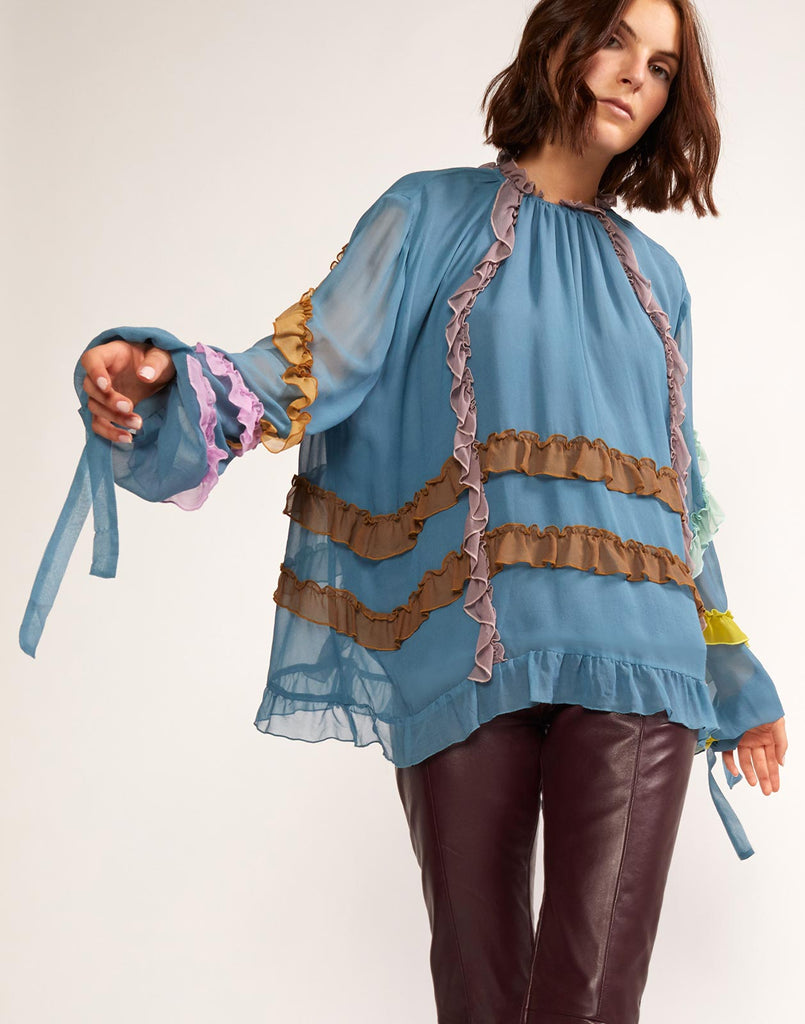 Alternate view of ruffled top with sheer long sleeves