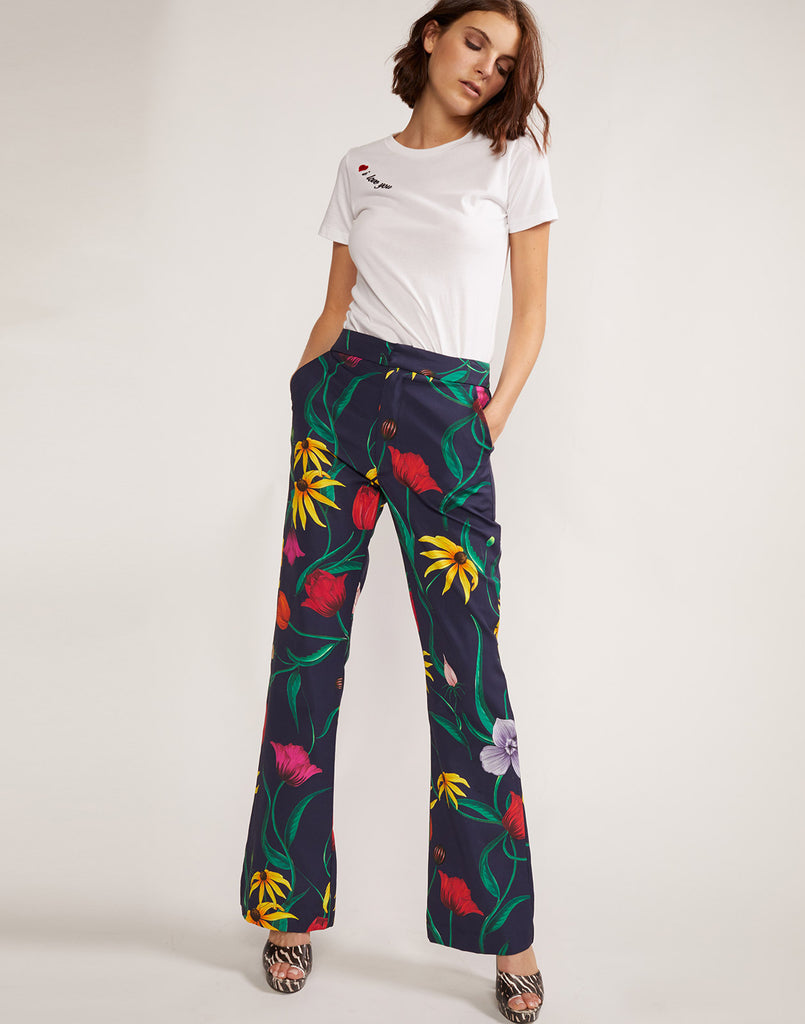 Thea Floral Pant with flare silhouette