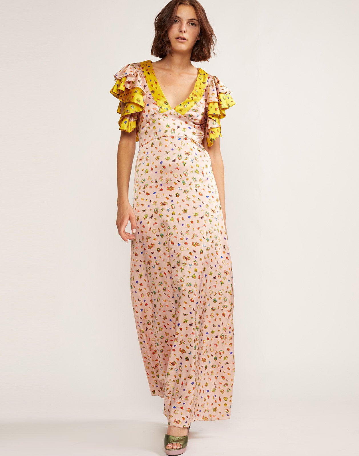 Silk charmeuse printed maxi dress with flutter sleeves