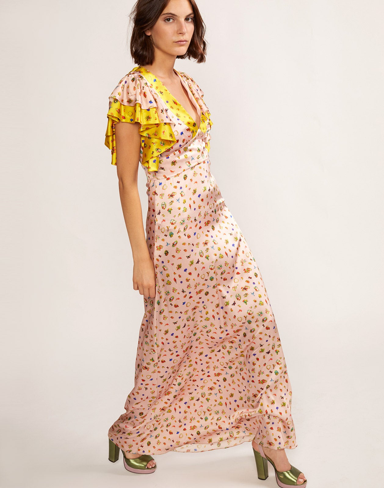Alternate view of Pamela silk maxi dress with layered flutter sleeves