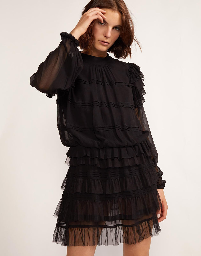 Front view of layered ruffle dress