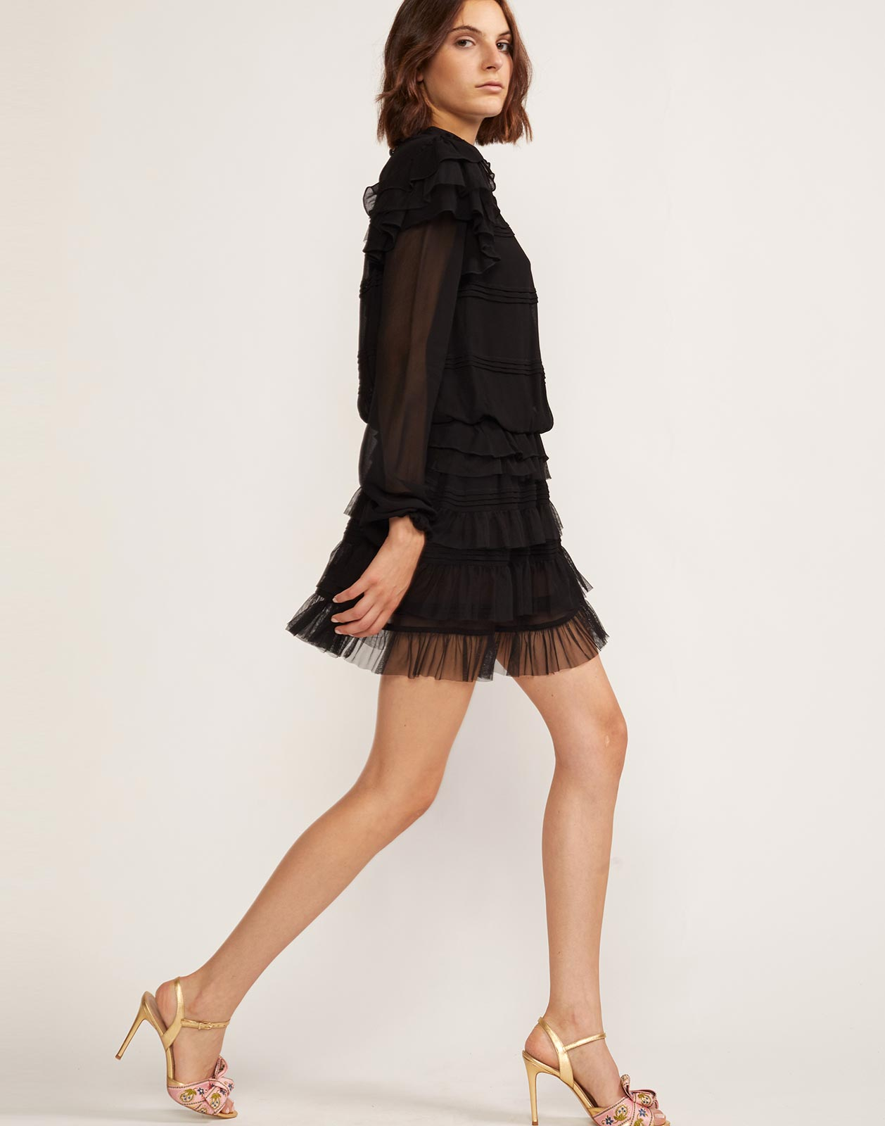 Side view of lined high neck ruffle dress