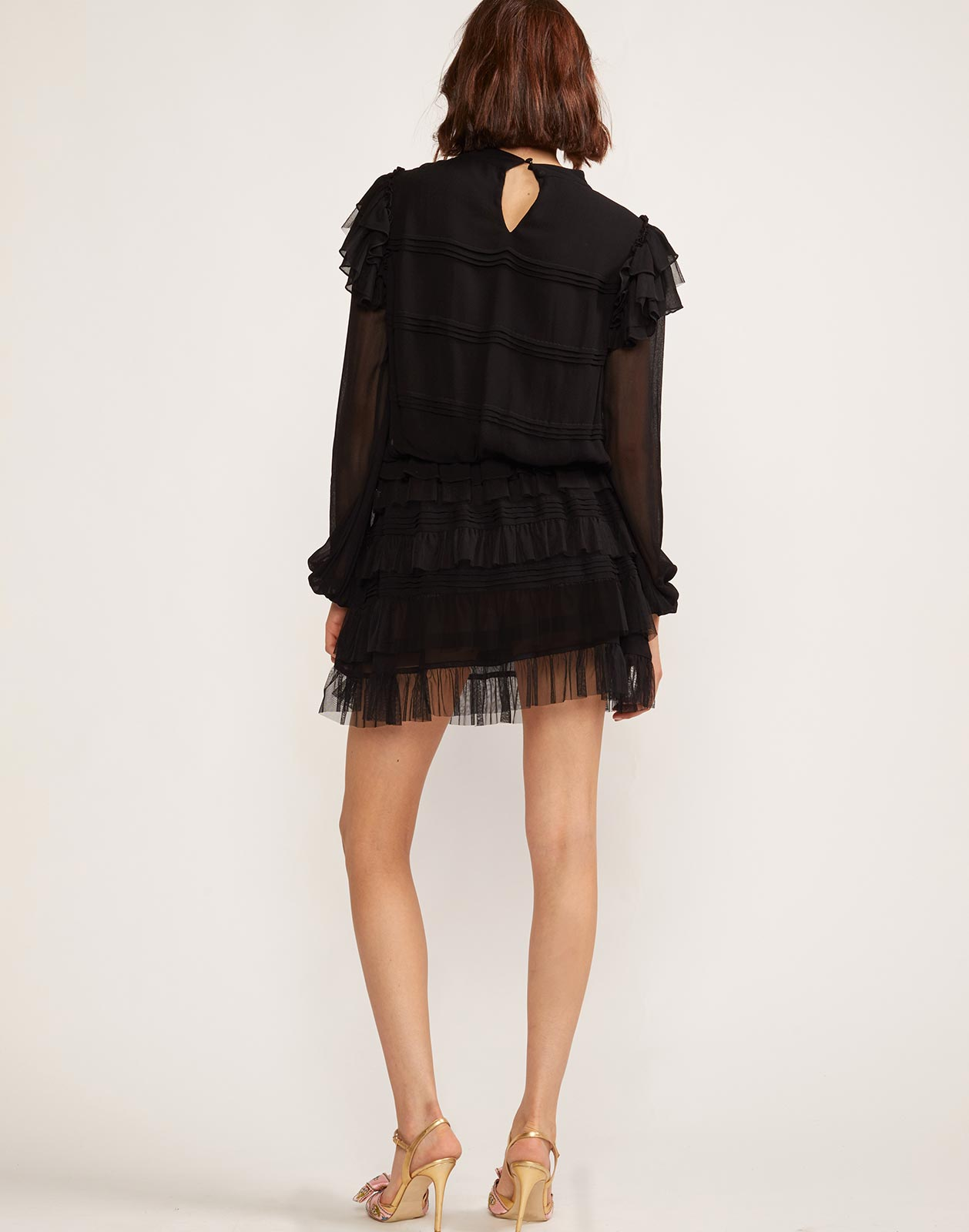 Back view of invisible back zip closure ruffled mini dress