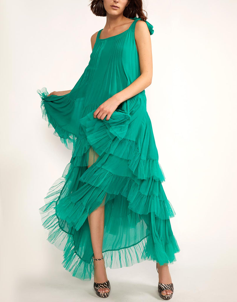 Front view of Evelyn tiered tulle ruffle flounce dress