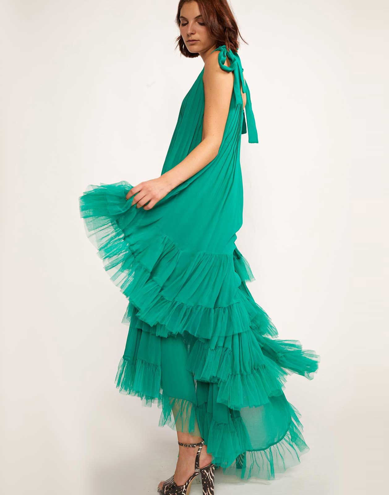 Green dress with high-low hem