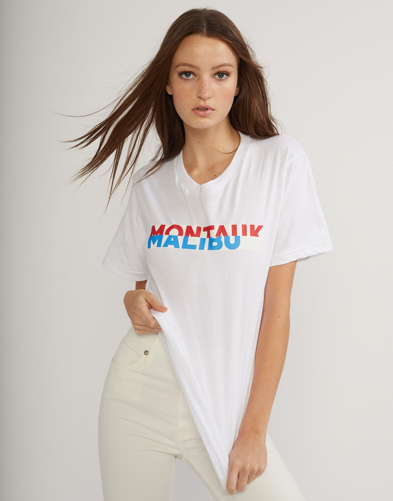 Front detail view of the montauk malibu tee.