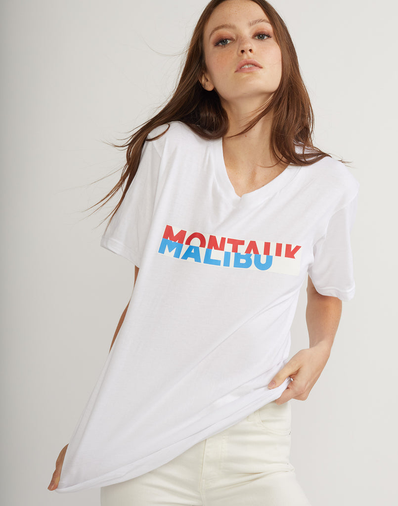 Front detail of the montauk malibu tee.