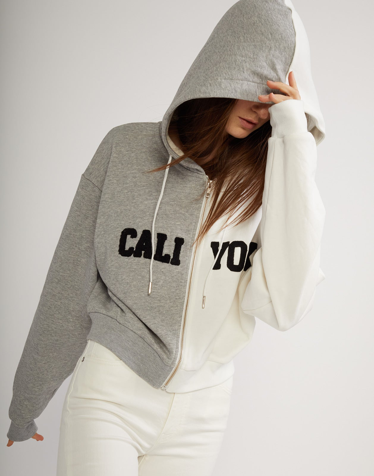 CaliYork Cropped Zip Up Hoodie