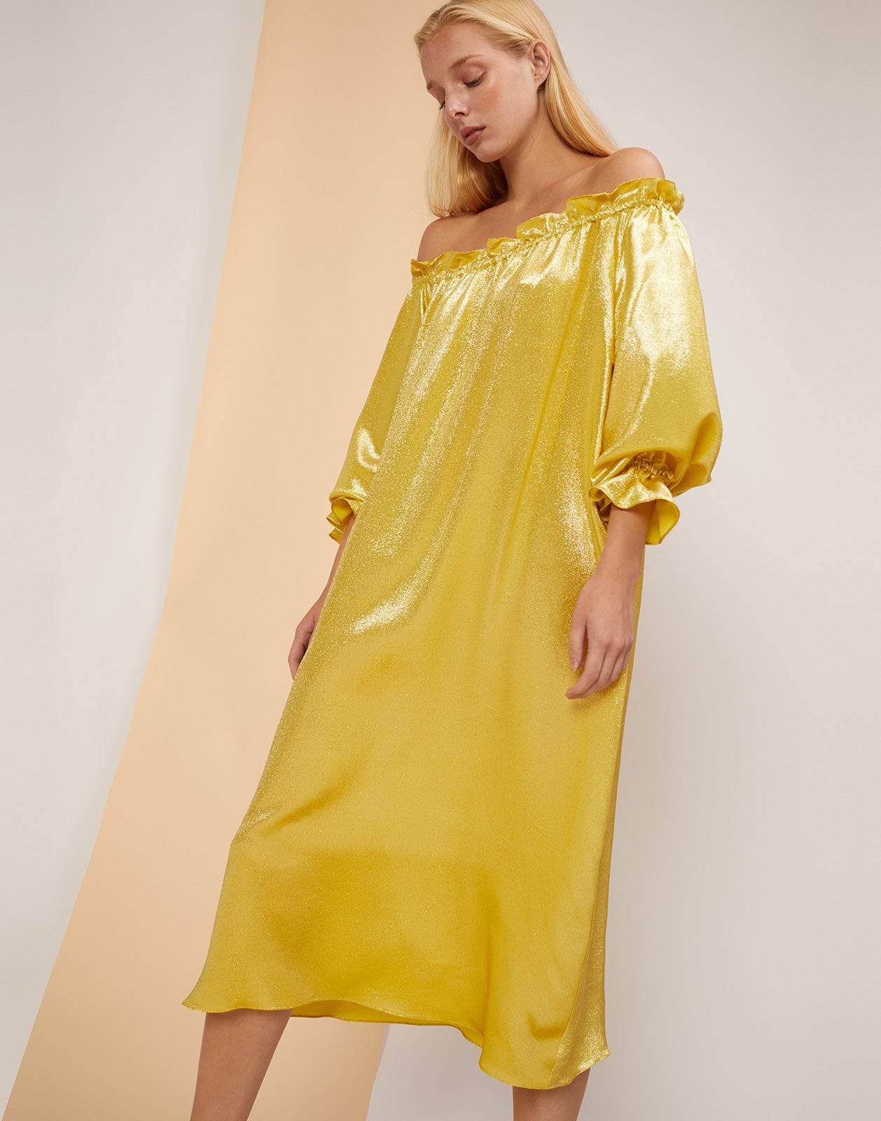 Front view of the Shanely yellow metallic silk shimmer dress.