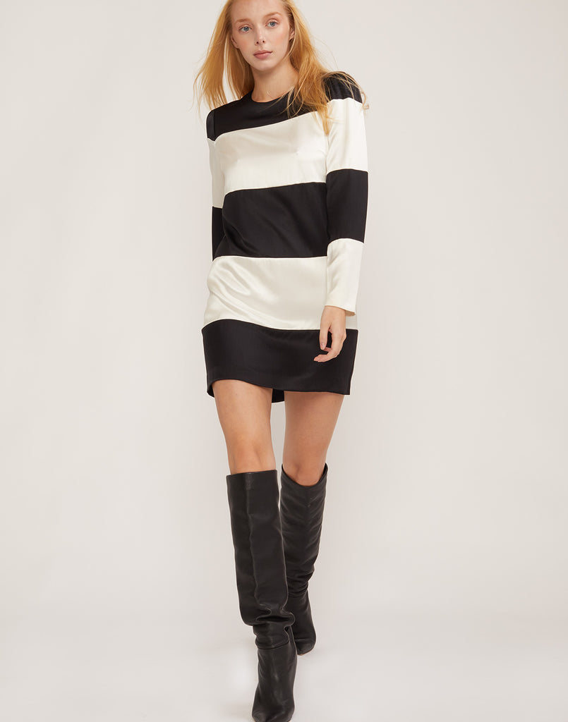 Full front view of Brooklyn black and white striped dress.