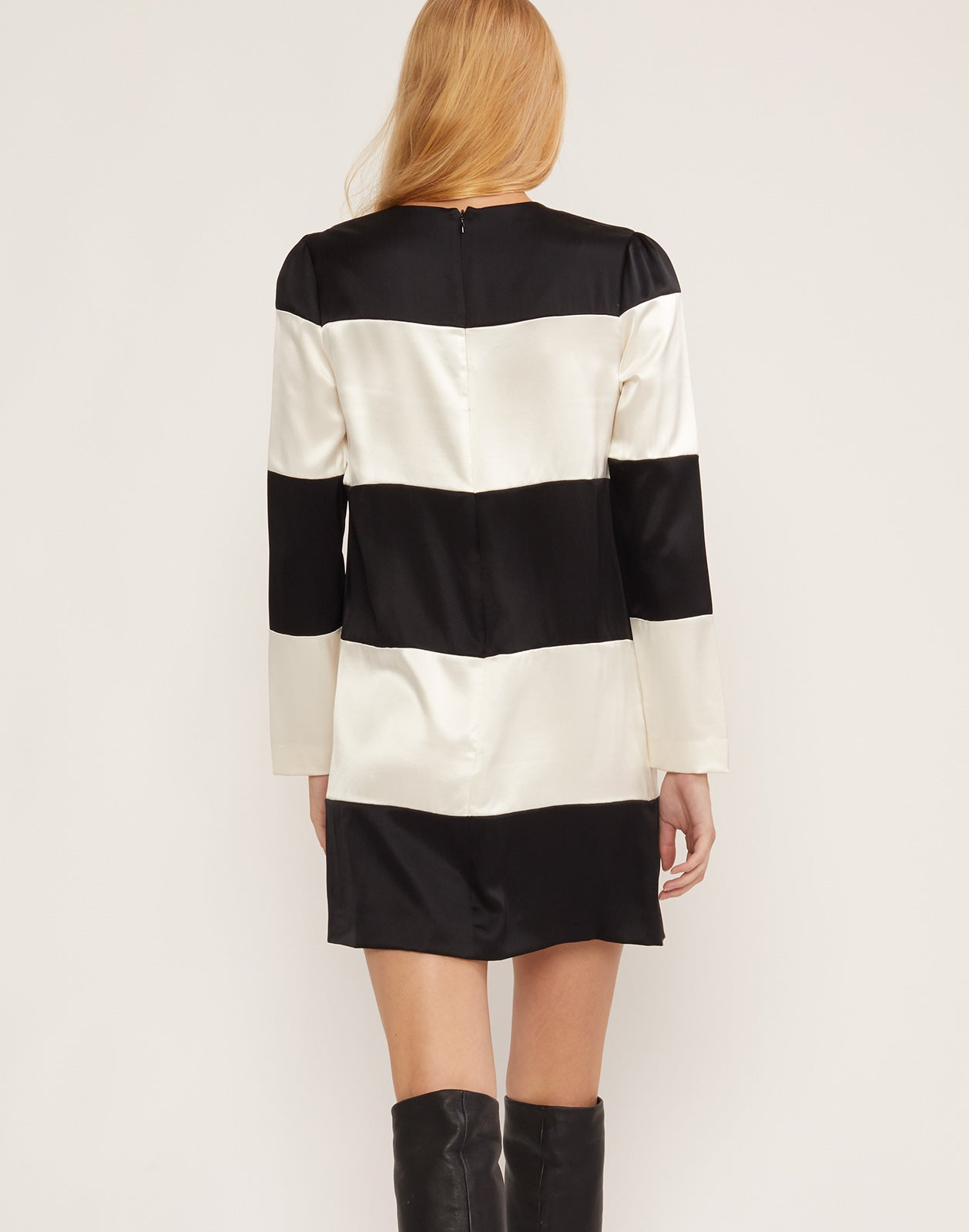 Back view of Brooklyn black and white striped shift dress.